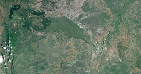 High-altitude overflight aerial of greater Nairobi, Kenya. Clip loops and is reversible. Elements of this image furnished by NASA