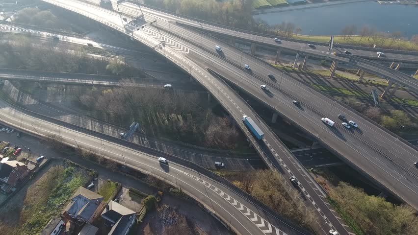 Panning aerial view of Spaghetti Junction in Birmingham, UK.