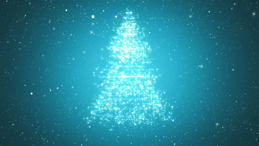 Looped background with Christmas tree of magic particles. Snowy background with a rotating Christmas tree of shiny particles.  Winter festive backgrounds with falling snowflakes.