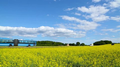 Typical public bus for commuting on a scenic road outside of Stockholm, Sweden