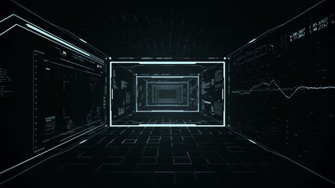 Futuristic HUD  tunnel. Camera zoom in through Head up display screens.Good for tech titles and background, news headline business intro screensaver.