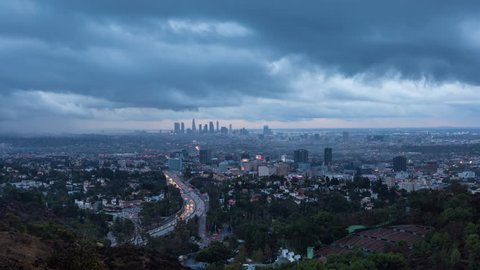 Los Angeles Day To Night With Clouds Timelapse