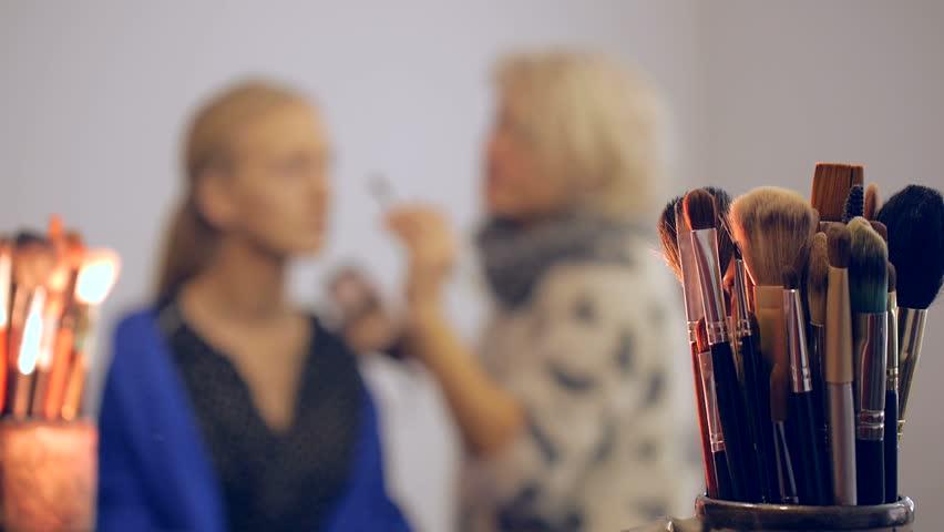 Female stylist doing makeup to a beautiful woman in beauty salon | Shutterstock HD Video #22017169