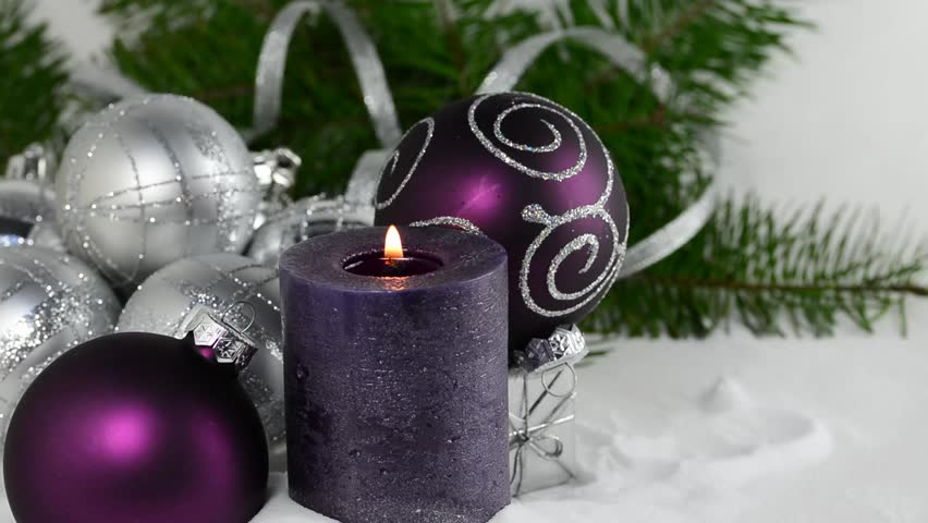 Purple Balls For Decoration Stunning Christmas Background With Candle And Decorationspurple And Silver Inspiration Design