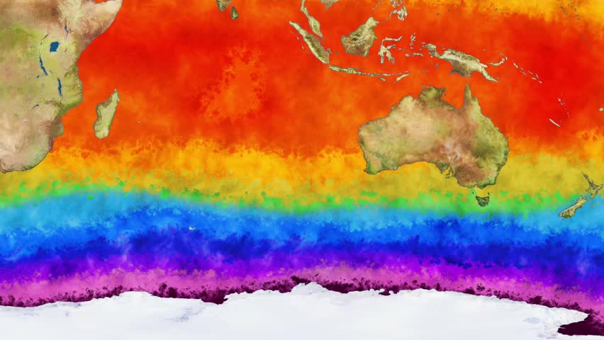 Earth Water Surface Global Warming Simulation Southern Hemisphere Animation The thermo map is bases on real data but it's fully CGI hand drawn imagery. | Shutterstock HD Video #22055839