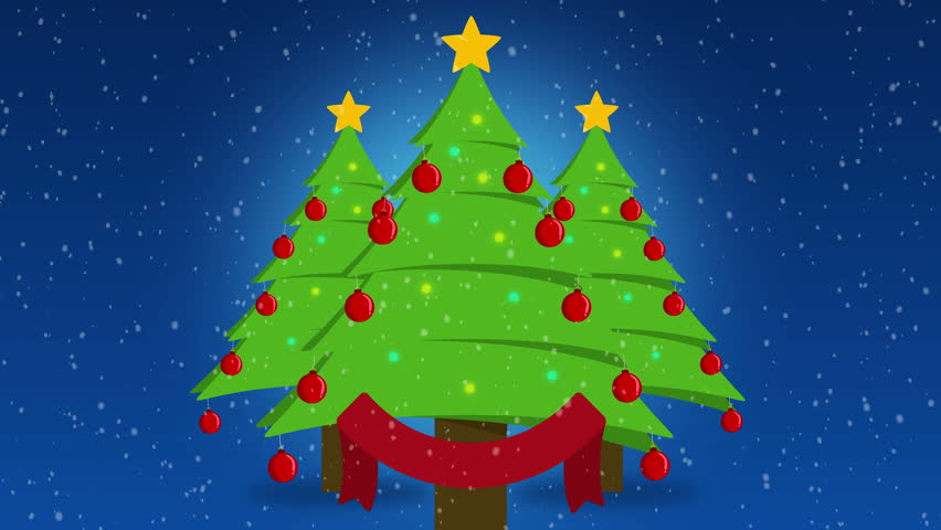 Cute Cartoon Christmas Trees Over Stock Footage Video (100% Royalty,free)  22068259