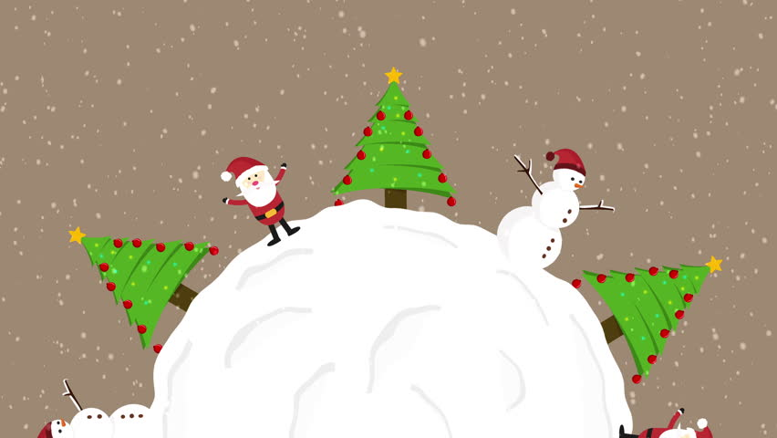 We wish you a merry christmas music from snow globe santa claus animation of santa clause snowman and christmas trees rotation over big snow ball loop with m4hsunfo Images
