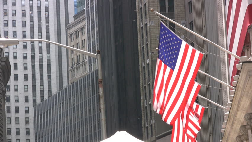 Stars And Stripes Flag Flying From The New York Stock Exchange On Wall Street
