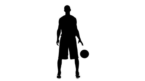 Basketball in the form of stuffing hand ball. White background. Slow motion