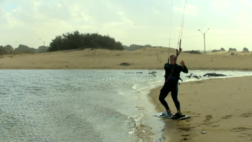 Kite Surfing in a lake,south of Israel, filmed 50p, color graded