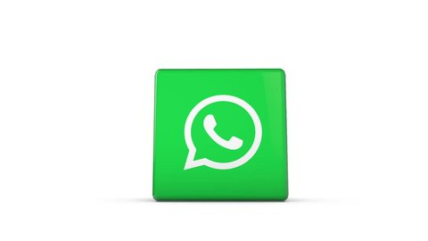 OXFORD, UK - DECEMBER 11th 2016: A 3D rendering of a spinning cube with the whatsapp logo. whatsapp is a popular messaging service