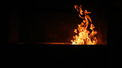 Fire is burning in the furnace.