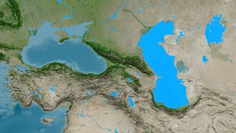 Zoom into Caucasus mountain range - masks. Satellite imagery. High resolution ASTER GDEM data textured