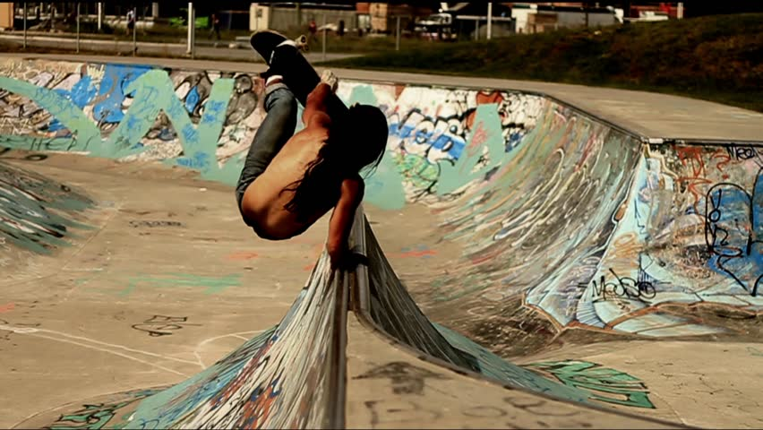 Skateboarder does a Back flip