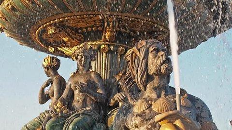 Architectural detail of character on the 'Fontaines de la Concorde' at 'Place de la Concorde' in the center of Paris