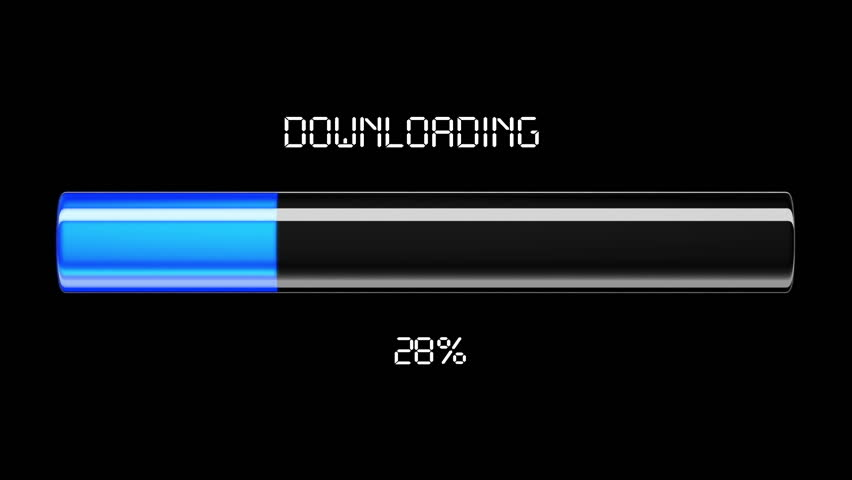 Downloading and uploading process animation with percentage. Blue color. HD 1080.
