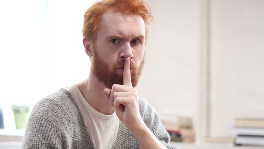 Silent, Silence Gesture by Man with Red Hairs | Shutterstock HD Video #22247092