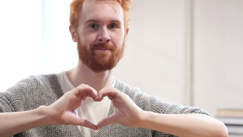 Heart Sign by Man with Red Hairs | Shutterstock HD Video #22247149