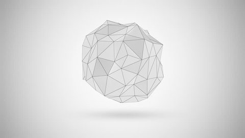 Seamless Looping Animation of Abstract White Fractal Geometric, Polygonal or Lowpoly Style Sphere made From a Triangular. 4K Ultra HD 3840x2160 Video Clip