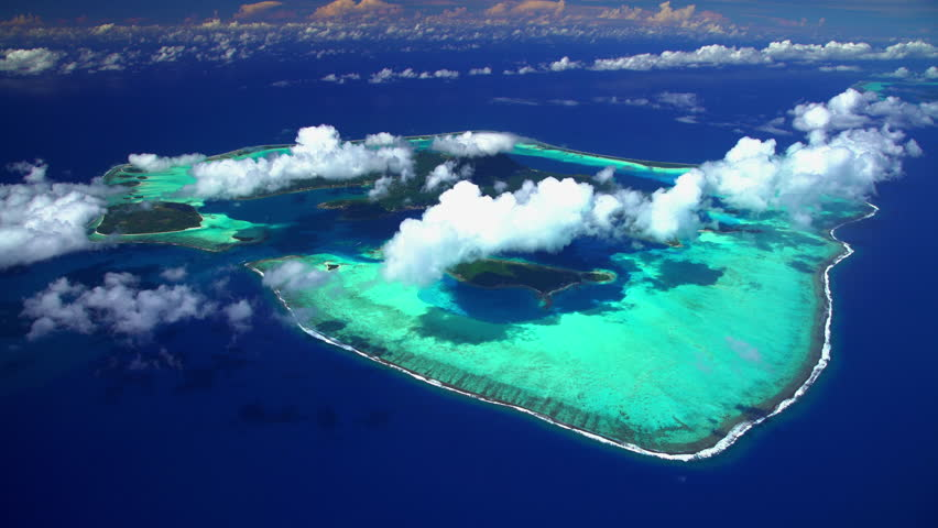 Aerial Bora Bora French Polynesia Atoll Tahitian Pacific Ocean Resort Vaitape Luxury reef bay Horizon Tropical Overwater Bungalow travel tourism Honeymoon Island