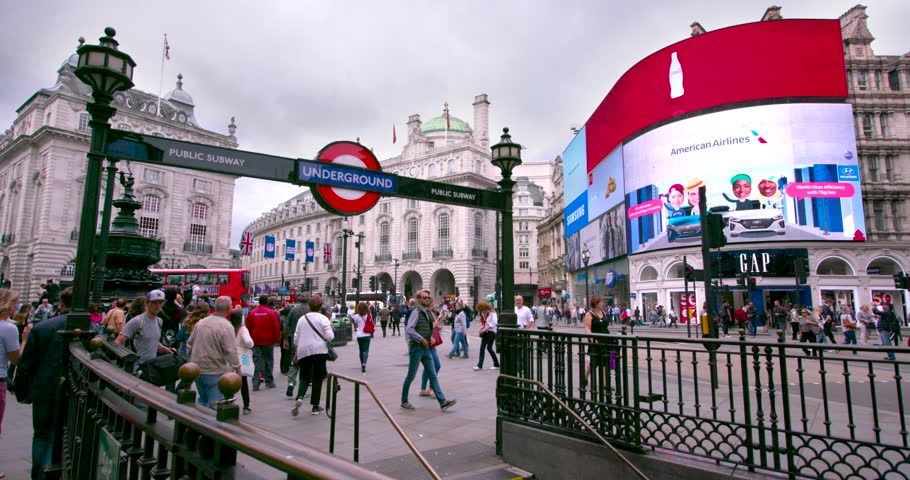 UNITED KINGDOM, LONDON - SEPTEMBER 2016: Piccadilly Circus & London Underground Subway; London England
