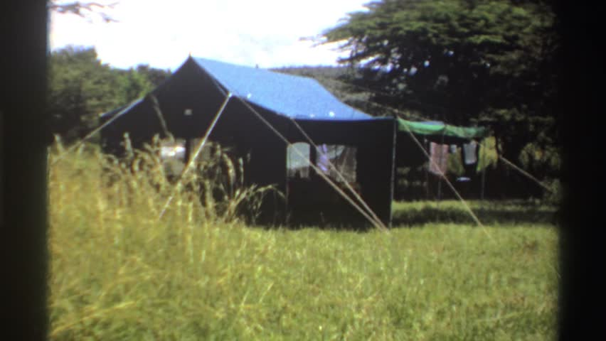 NIGERIA 1969 two large canvas tents on a savanna or other grassy area & Nigeria 1969: Two Large Canvas Stock Footage Video (100% Royalty ...
