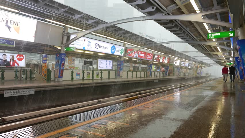 bangkok march 24 2015 heavy shower streams overground metro platform of bts - Open Canopy 2015