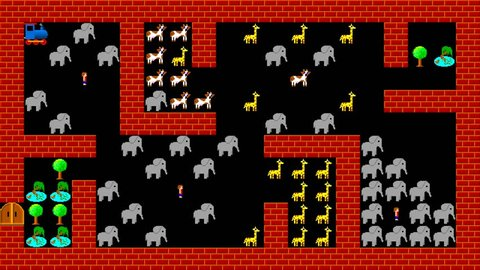 Train puzzle, retro style low resolution pixelated game graphics animation, level 46