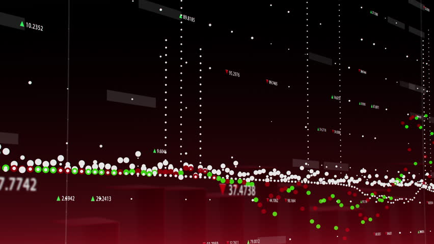 3D animation of financial graph with figures and moving marks showing economic growth and decline on red background
