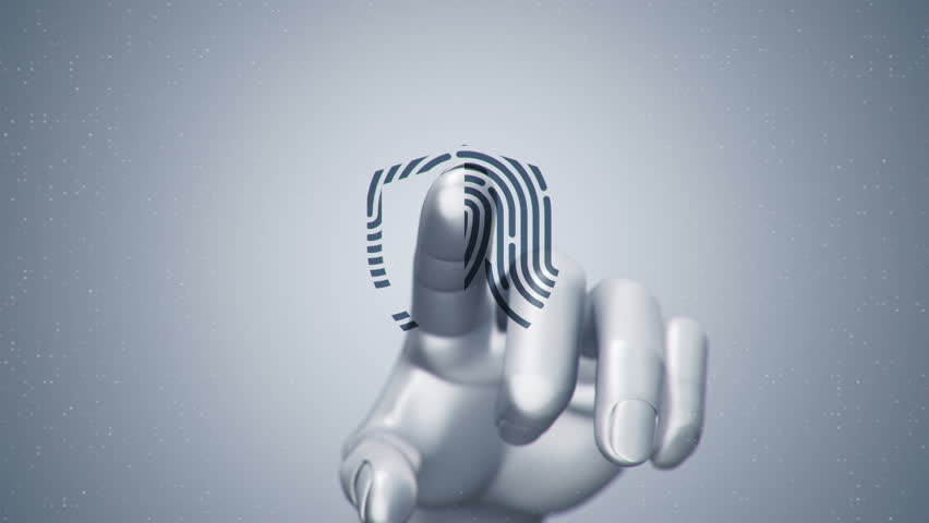 Animation touching finger of abstract human hand to touch screen and scanning tech symbol as fingerprint. Animation of seamless loop. | Shutterstock HD Video #22482739