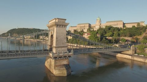 Aerial view of Budapest in sunrise - Chain bridge and Buda castle, June 2016: Budapest, Hungary