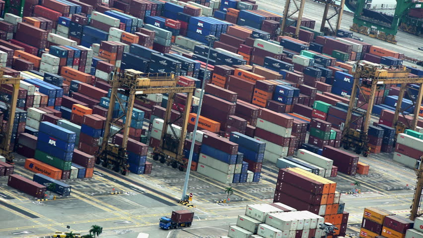 Singapore - September 2016: View of South East Asian shipping Container Port part of the Tiger economy Global freight transportation in exports and import South China Sea | Shutterstock HD Video #22497469
