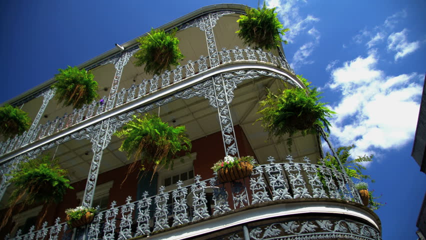New Orleans, USA - September 2016: View tourists and musicians in the French Quarter in architectural part of Downtown New Orleans Louisiana