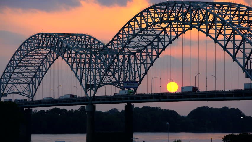 Sunset view of the Memphis Road Bridge in Southern Tennessee on Interstate 40 across the Mississippi River USA