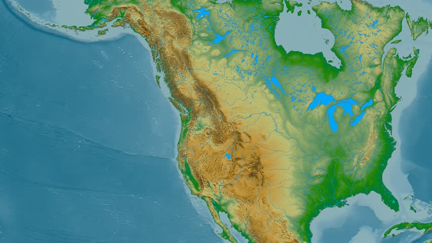 Zoom into Rocky mountain range - masks. Colored physical map. High resolution ASTER GDEM data textured