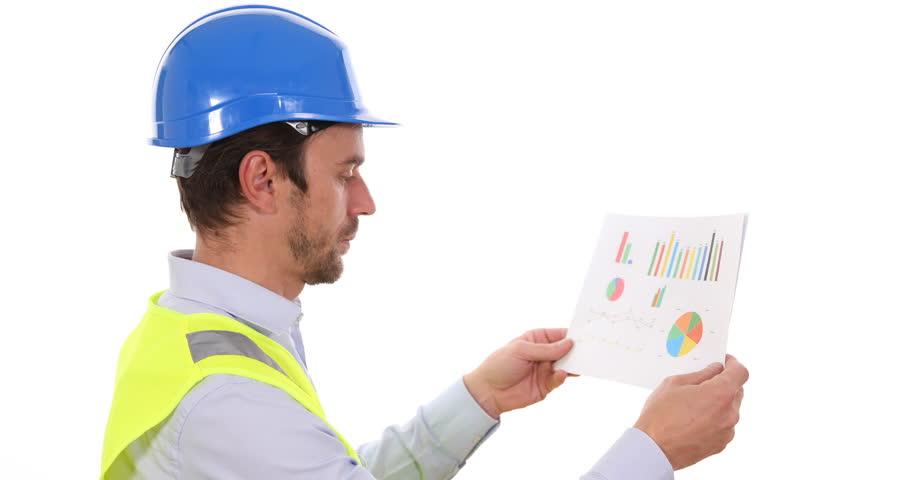 Supervisor Engineer Man Hold Pie Chart Checking Data Reading Profit Statistics. Ultra High Definition, UltraHD, Ultra HD, UHD, 4K, 2160P, 4096x2160 | Shutterstock HD Video #22520959