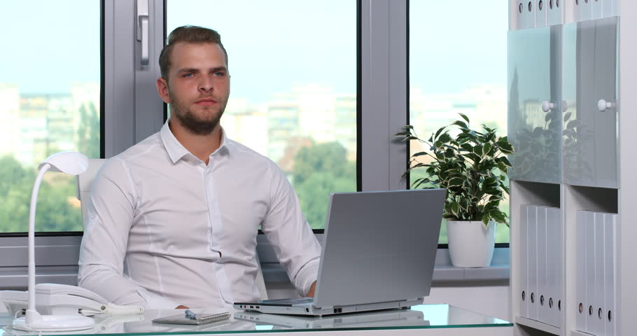 Charming Business Man Listening Music Browsing Internet Laptop ...