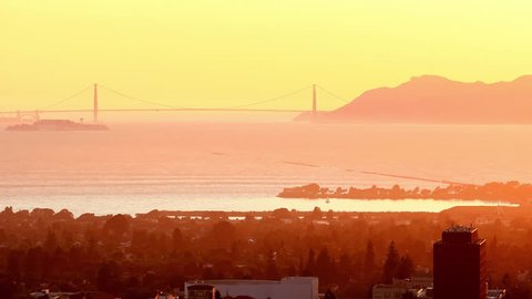 Sather Tower & Berkeley & Golden Gate Bridge; Berkeley California Usa