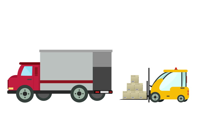 Cartoon Animation Of A Forklift Loader Load Boxes Into Truck Over White Background With Space