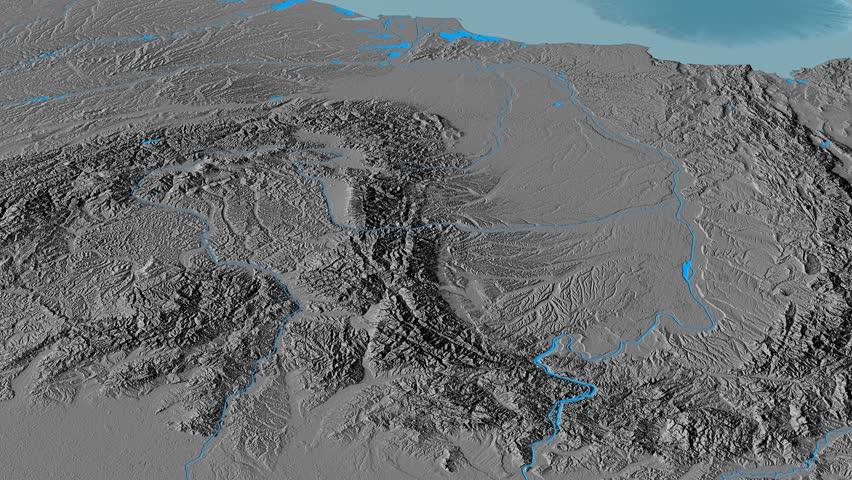 Revolution around Transylvanian Alps mountain range - masks. Elevation map. High resolution ASTER GDEM data textured