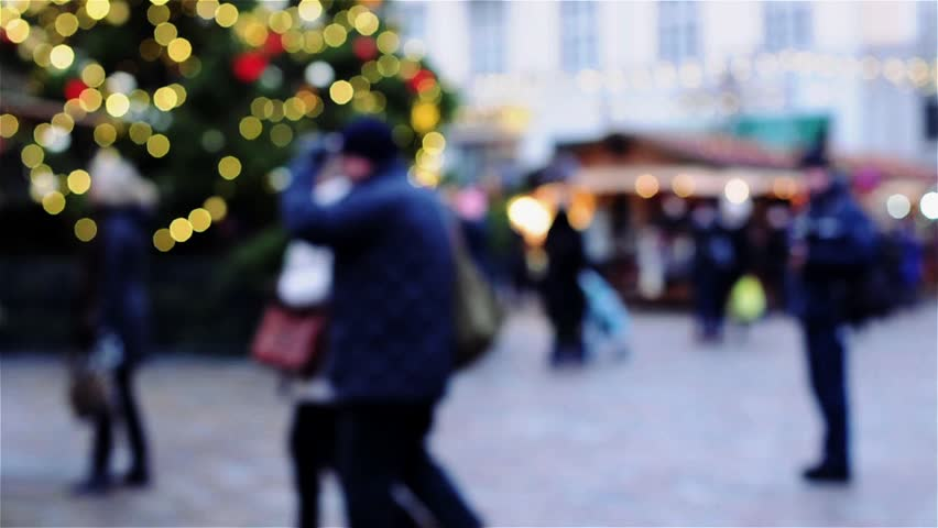 Christmas decoration in Tallin, Estonia, selective focus and toned video