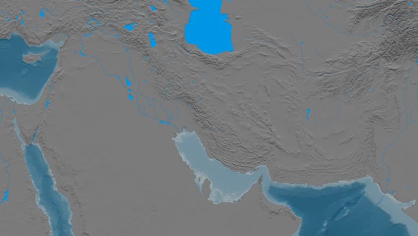 Zoom into Zagros mountain range - masks. Elevation map. High resolution ASTER GDEM data textured