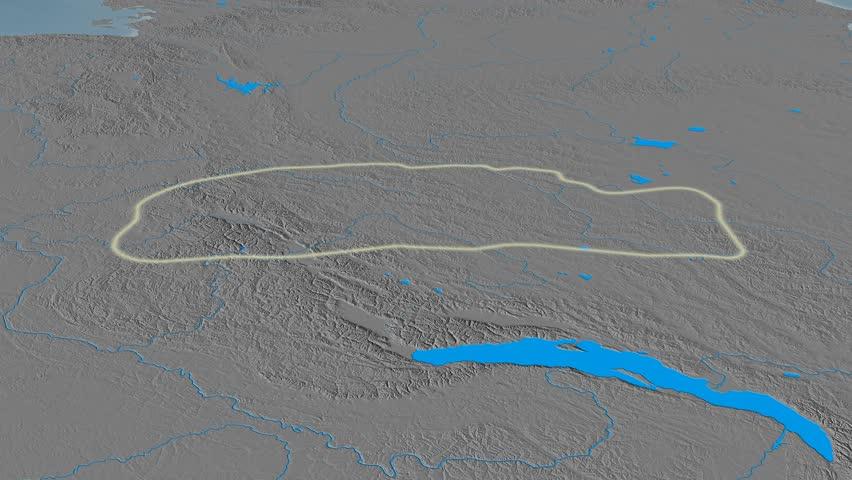 Revolution around Yablonovyy mountain range - glowed. Elevation map. High resolution ASTER GDEM data textured