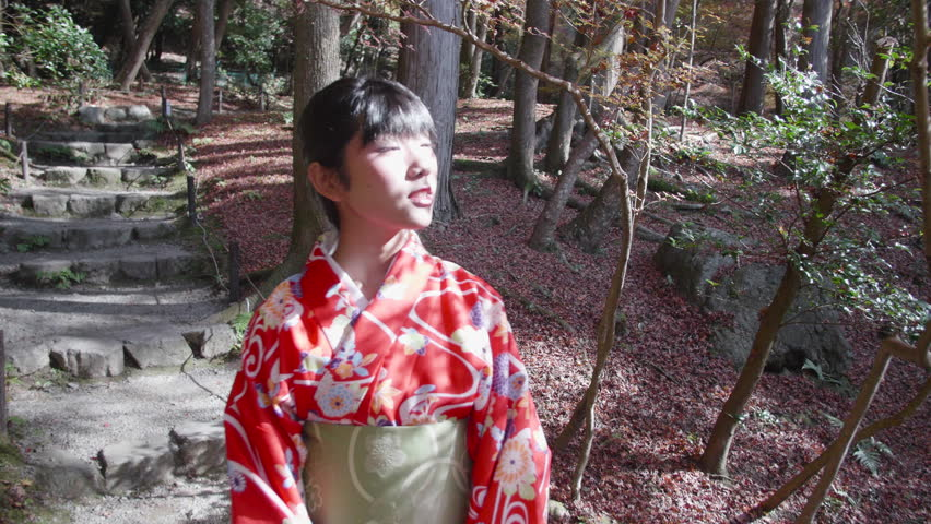 Japanese girl wearing kimono walking through temples gardens steadycam shot.  | Shutterstock HD Video #22571599