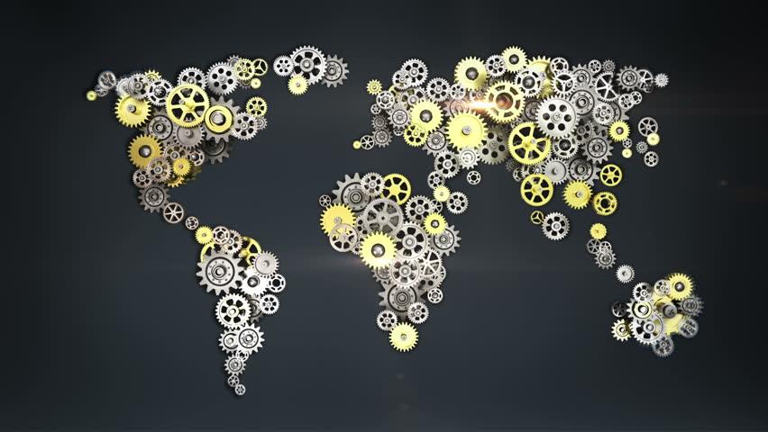 Steel golden gears making global world map. artificial intelligence. global technology.