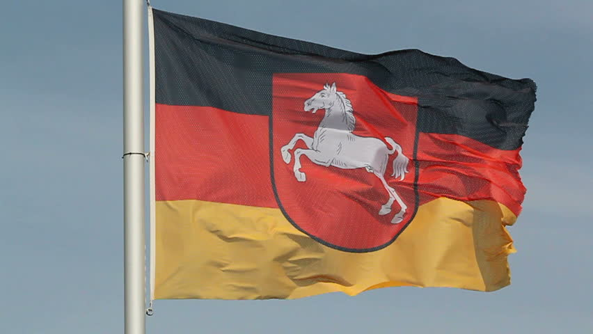 Lower Saxony flag in the wind