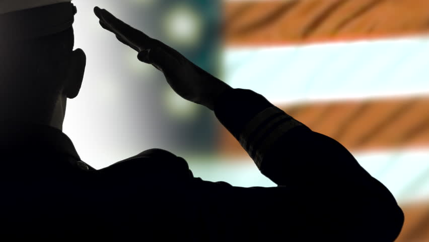 4K Close Up Salute, USA Military Officer Silhouette, July 4th, Stars and Stripes