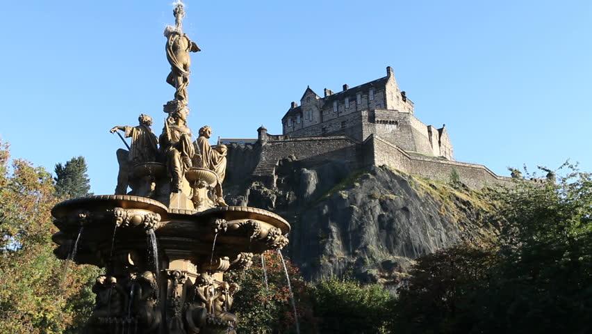 Ross Fountain and Edinburgh Castle viewed from Princes Street Gardens, Edinburgh, Scotland   Shutterstock HD Video #2272214