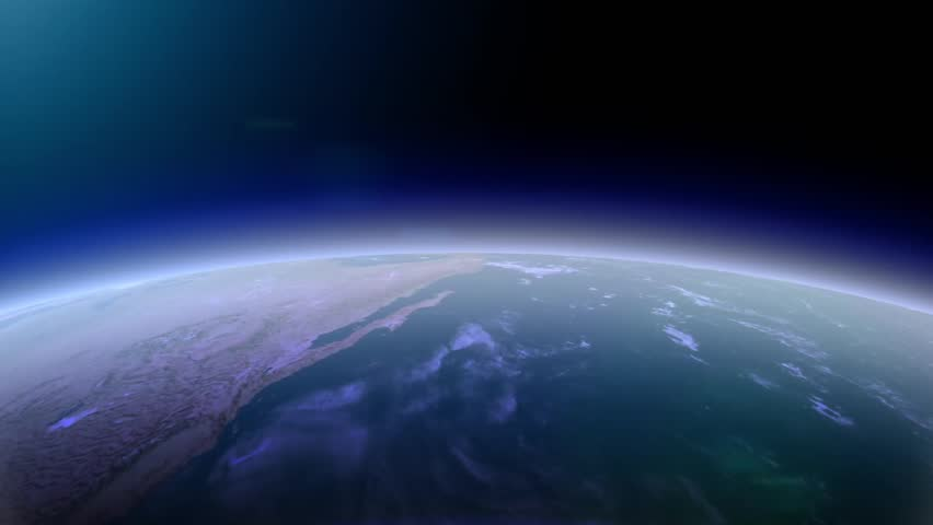 3d earth animation fly. Over europe. Trough Asia, Japan, North and South America, Australia, China. Zoom into the universe. Blue black night sky. Atmosphere and ozone luft. City light map