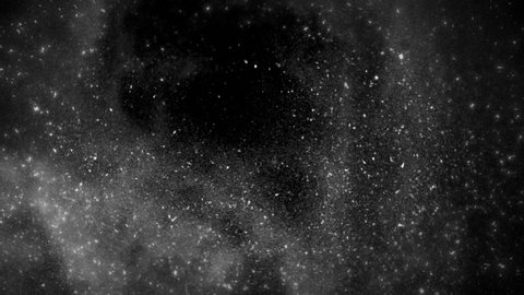 High quality motion animation representing snow falling, animated on a black background.